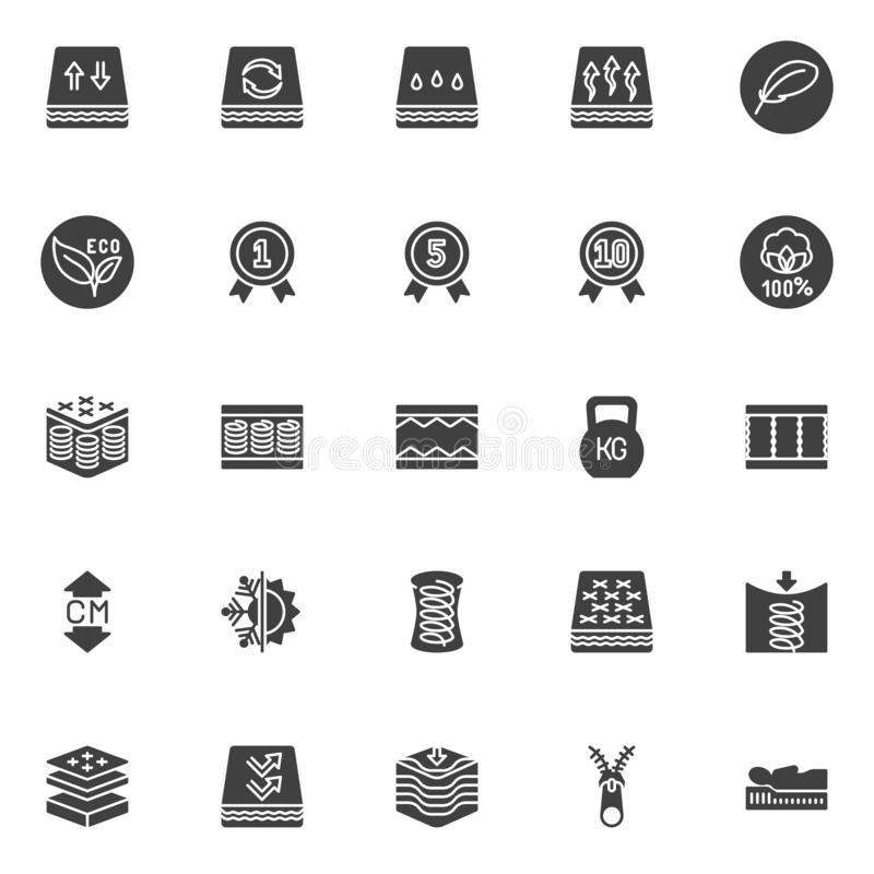 Orthopedic sleep vector icons set. Modern solid symbol collection, filled style pictogram pack. Signs, logo illustration. Set includes icons as orthopedic stock illustration