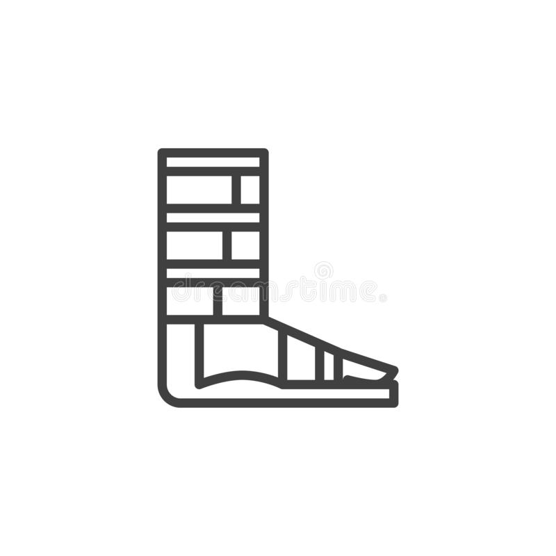 Orthopedic support for ankle line icon. Linear style sign for mobile concept and web design. Foot ankle brace outline vector icon. Symbol, logo illustration vector illustration