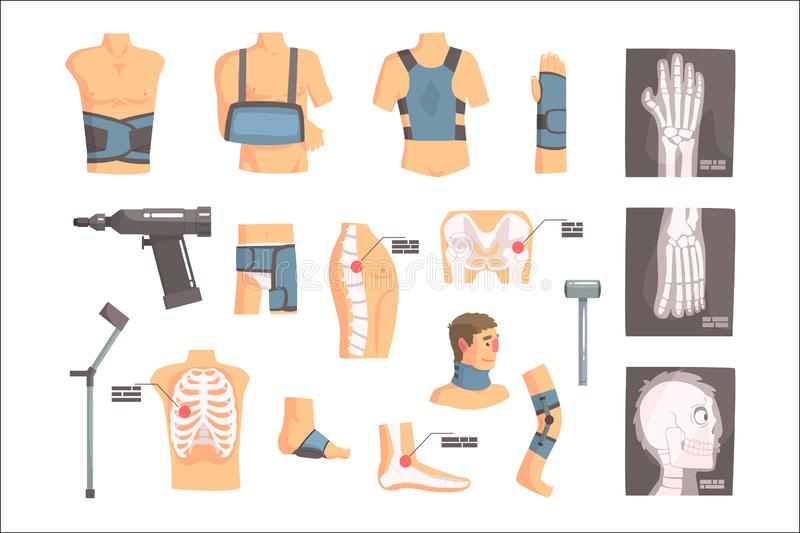 Orthopedic Surgery And Orthopaedics Attributes And Tools Set Of Cartoon Icons With Bandages, X-rays And Other Medical royalty free illustration