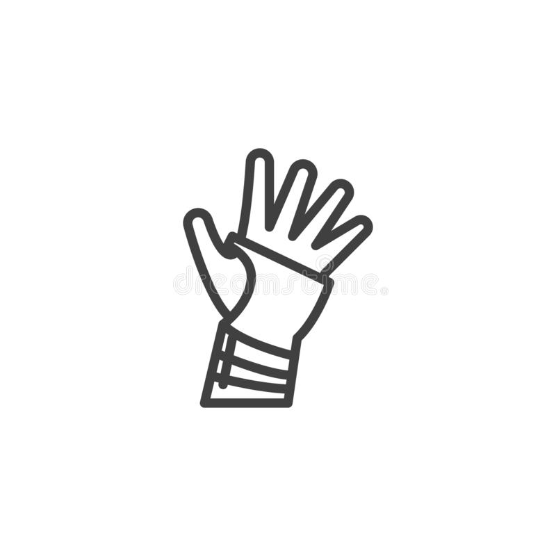 Orthopedic wrist brace line icon. Linear style sign for mobile concept and web design. Hand with Bandage outline vector icon. Symbol, logo illustration. Vector vector illustration