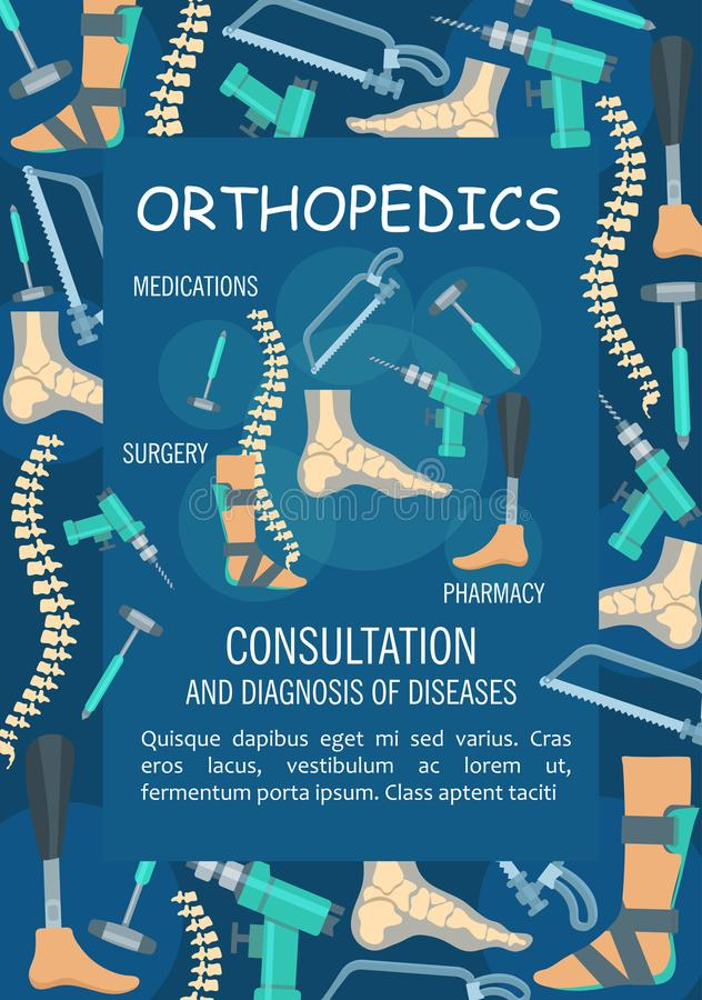 Orthopedics medical banner with bone and joint royalty free illustration
