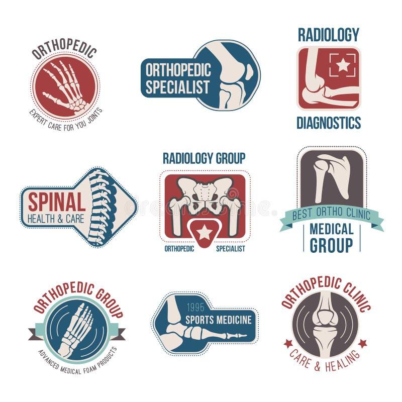 Orthopedics and radiology clinic medical badge set vector illustration