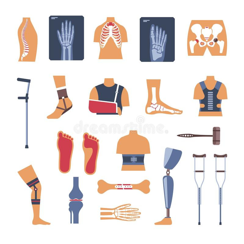 Orthopedics surgery medicine vector icons. Orthopedics medicine and treatment vector icons. Isolated flat set of joints X-ray, hand bone fracture or trauma vector illustration