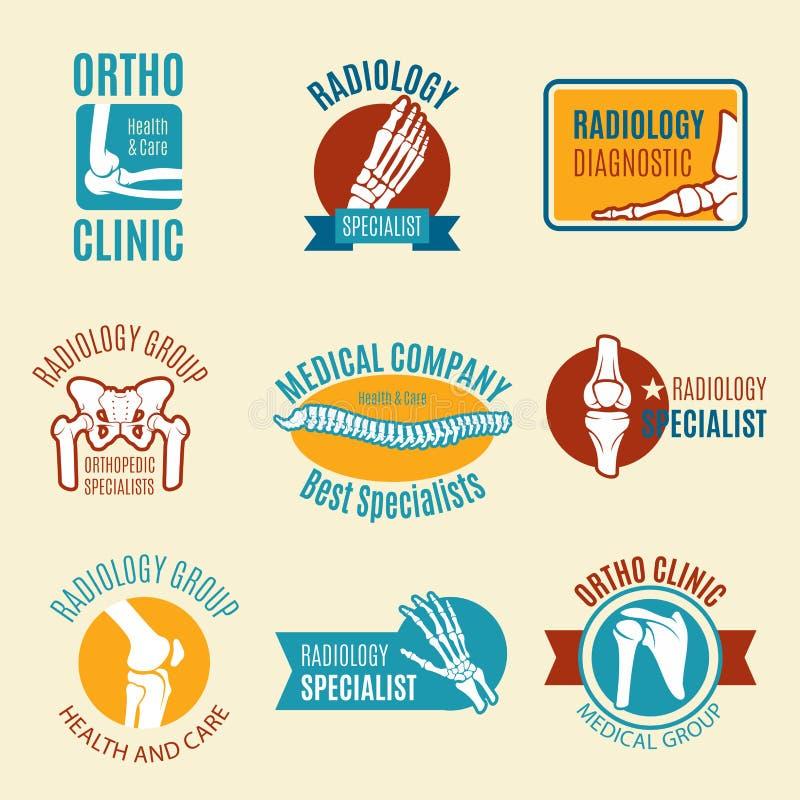 Orthopedics symbol set with bone and joint royalty free illustration