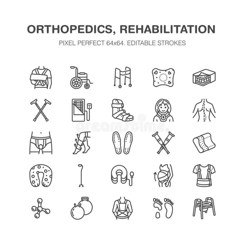 Orthopedics, uraz rehabilitaci linii ikony Szczudła, materac poduszka, karkowy kołnierz, piechurzy, medyczni rehab towary royalty ilustracja