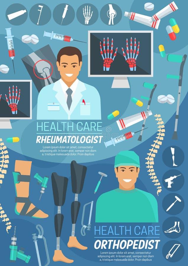 Orthopedie en reumatologiegeneeskundebanner royalty-vrije illustratie