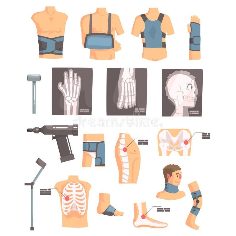 Orthopedische Chirurgie en Orthopedieattributen en Hulpmiddelenreeks Beeldverhaalpictogrammen met Verbanden, Röntgenstralen en Me vector illustratie