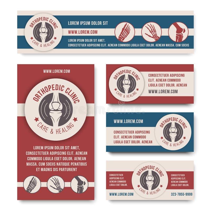Orthopedische het malplaatjereeks van de kliniek medische banner royalty-vrije illustratie