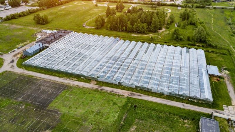 Orticoltura industriale nella vista superiore delle serre immagine stock libera da diritti