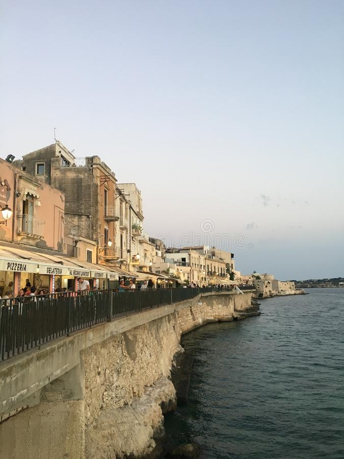 Ortigia海视图在西西里岛 库存照片