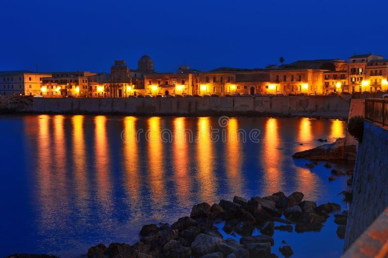 Ortigia island old Syracuse night view, Sicily, Italy. Europe royalty free stock images