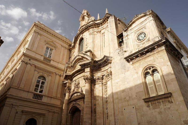 Ortigia Syracuse Sicily Italy świętego Francis stary kościół obraz stock