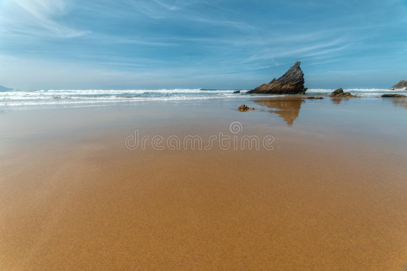 Ortigueira, Sarridal-strand stock foto's