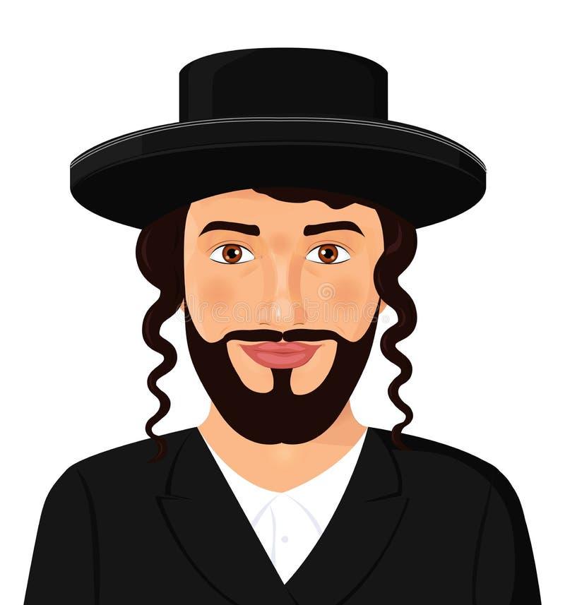Ortodoksalny żydowski mężczyzna portret z kapeluszem w czarnym kostiumu jervis royalty ilustracja