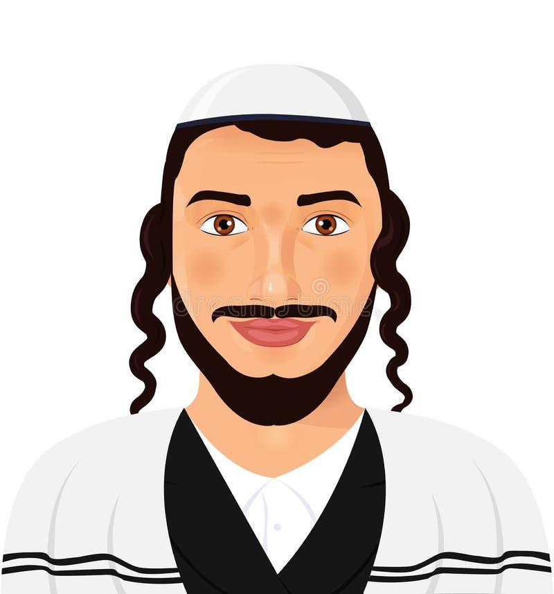 Ortodoksalny żydowski mężczyzna z kapeluszem w tradycyjnym kostiumu jervis Isr ilustracja wektor