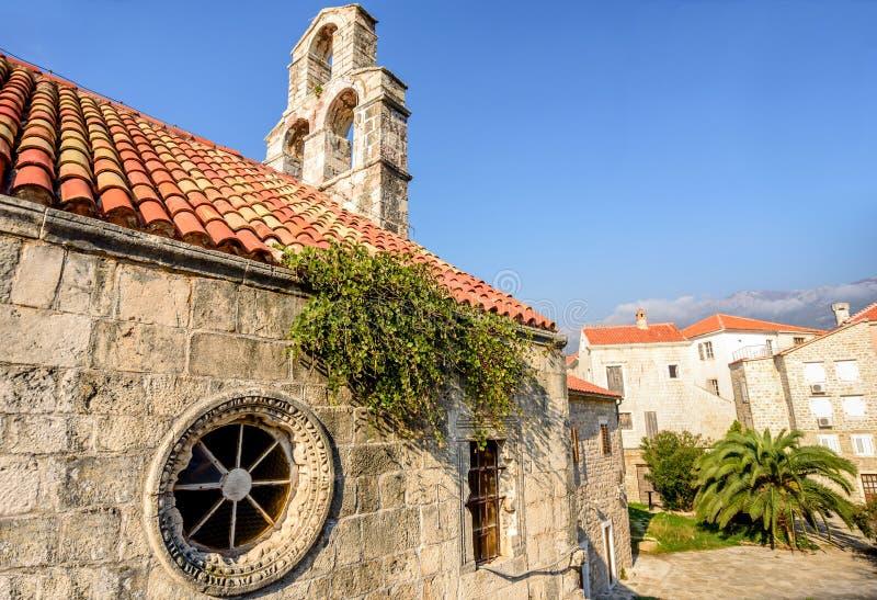 Ortodoksalny kościół Święta trójca w Starym miasteczku Budva, Mo zdjęcia stock