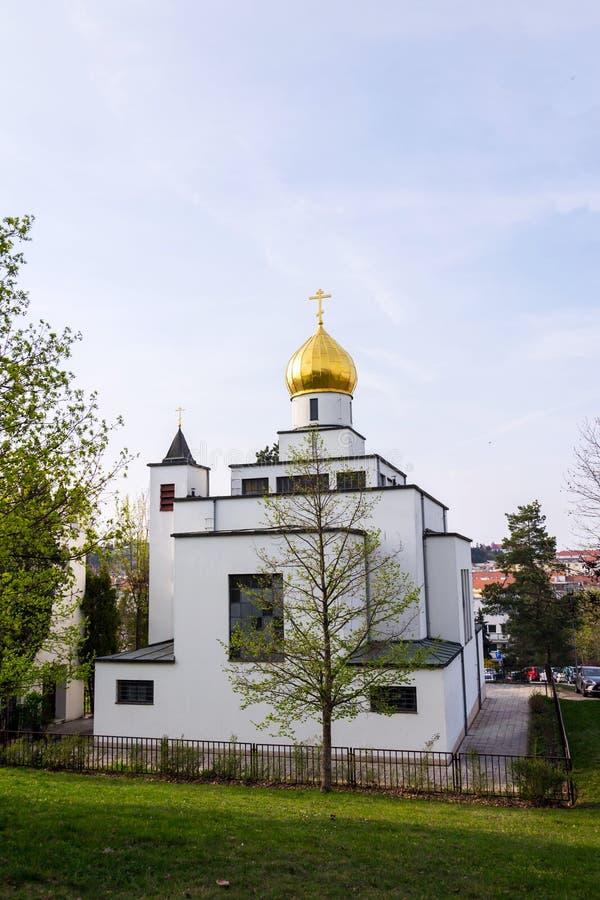 Ortodoksalny kościół St Wenceslas, Brno, Moravia, republika czech, słoneczny dzień, jasny niebieskie niebo zdjęcie royalty free