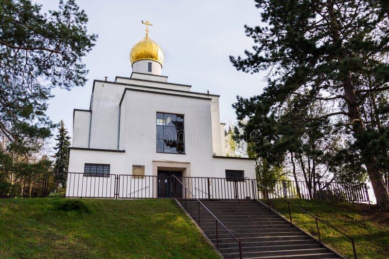Ortodoksalny kościół St Wenceslas, Brno, Moravia, republika czech, słoneczny dzień, jasny niebieskie niebo obraz stock
