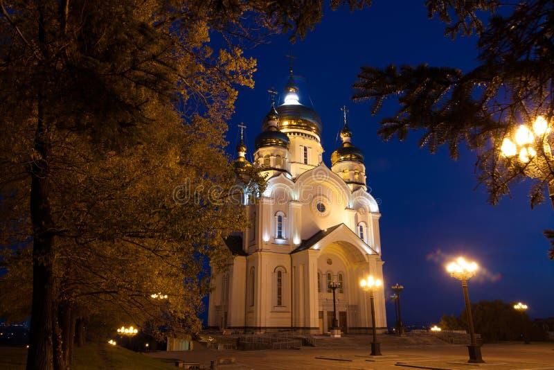 Ortodox大教堂在哈巴罗夫斯克,俄罗斯夜 图库摄影