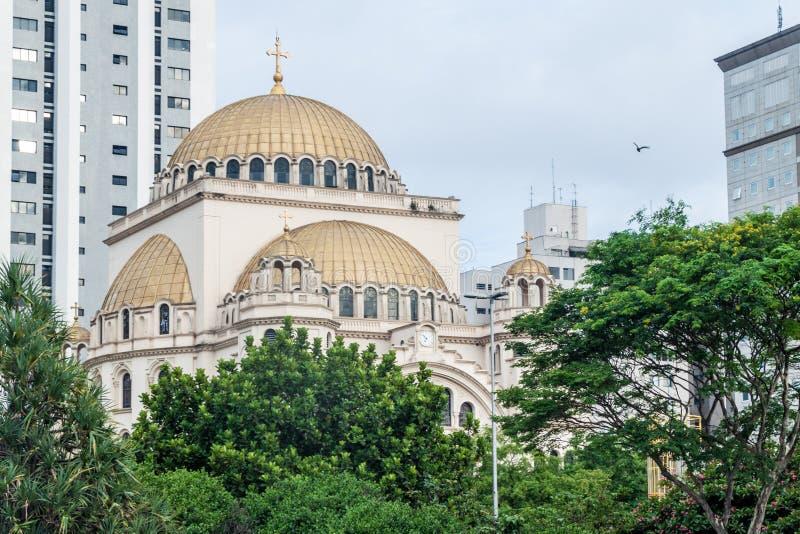 Ortodox domkyrka av Sao Paulo arkivbilder