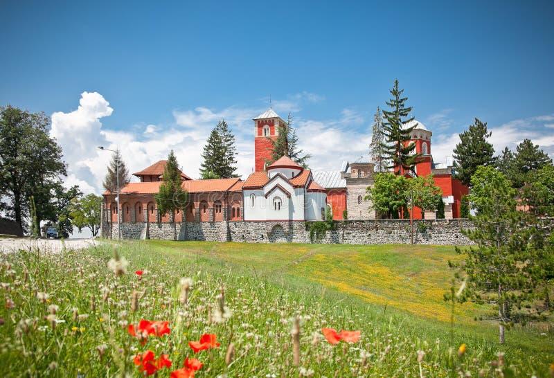 Ortodox kloster Zica, nära Kraljevo, Serbien royaltyfria bilder