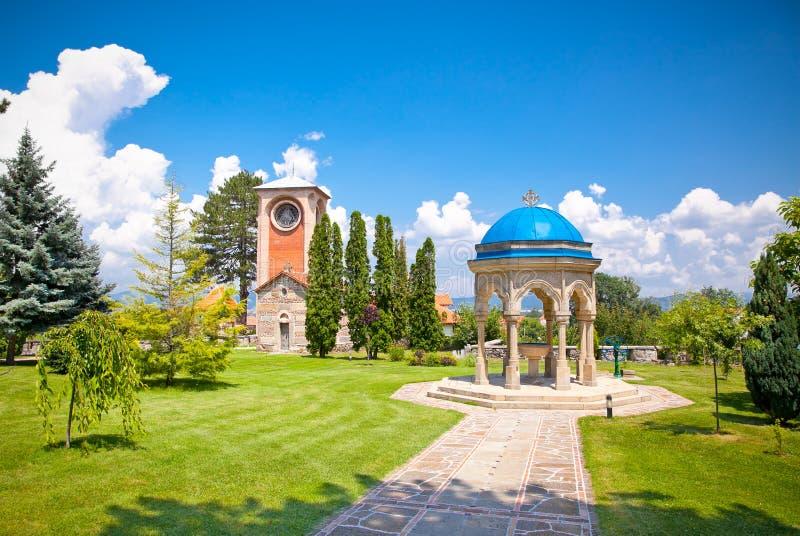 Ortodox kloster Zica, nära Kraljevo, Serbien royaltyfri bild
