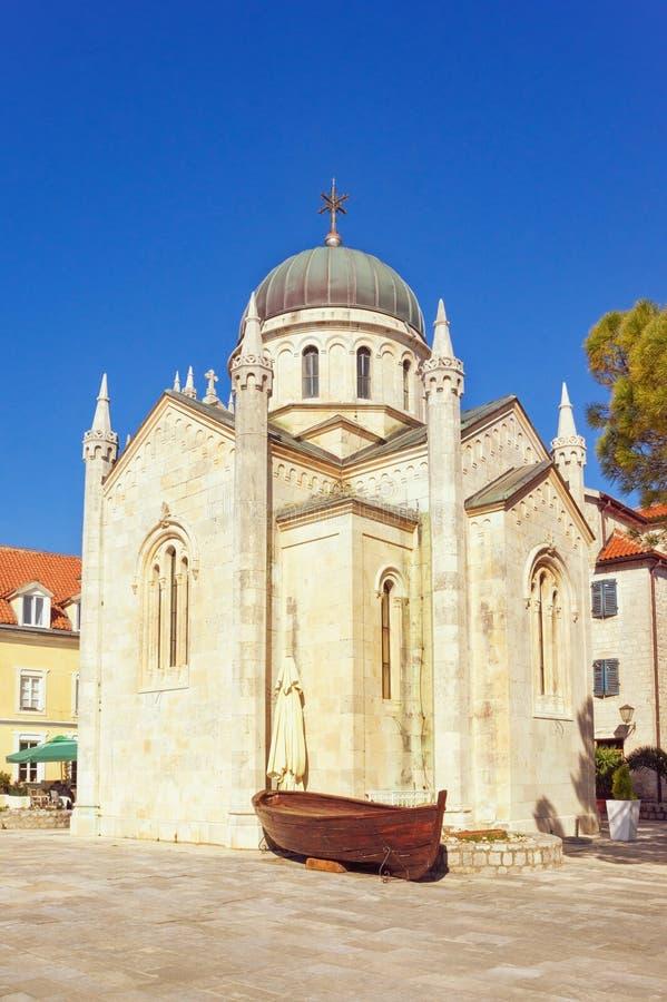 Ortodox kyrka av ärkeängeln Michael i gammal stad av Herceg Novi Montenegro royaltyfri fotografi