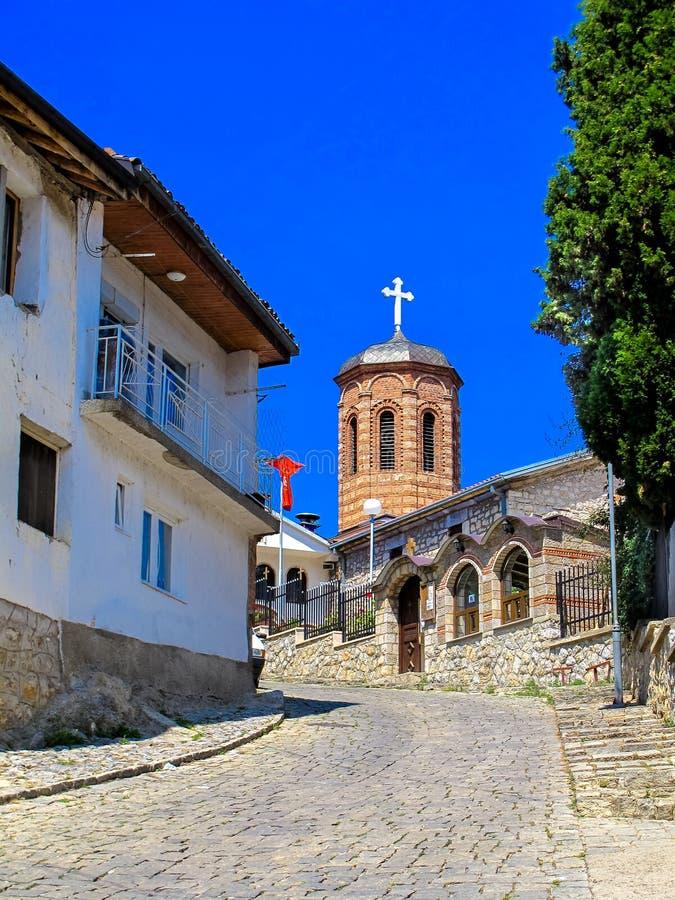 Ortodox kyrka av St Mary Assumption Kamensko Church macedonia ohrid fotografering för bildbyråer