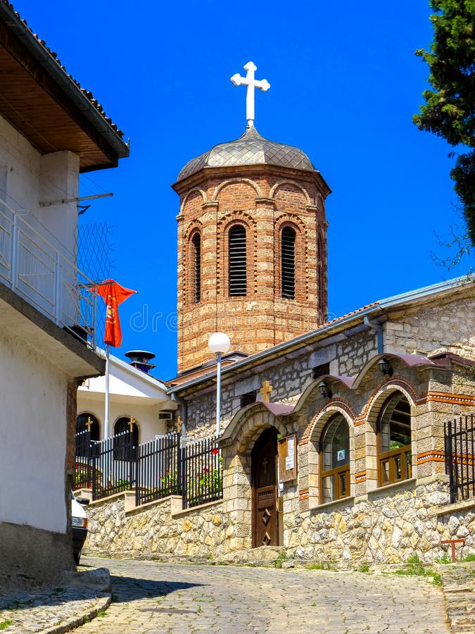 Ortodox kyrka av St Mary Assumption Kamensko Church macedonia ohrid royaltyfria foton