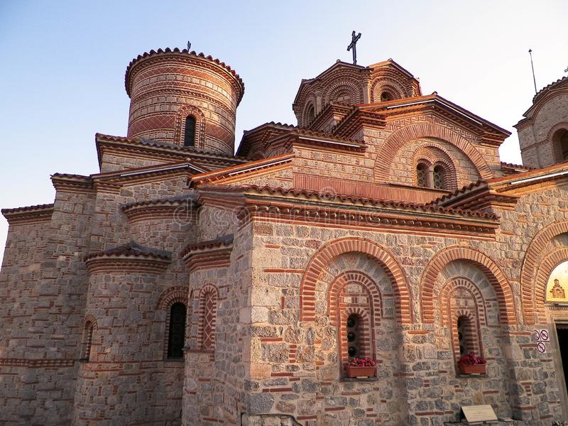 Ortodox kyrka av st Panteleimon i Ohrid, Makedonien arkivfoto