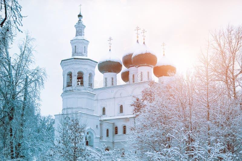 Ortodox kyrka in bland de snöig träden fotografering för bildbyråer