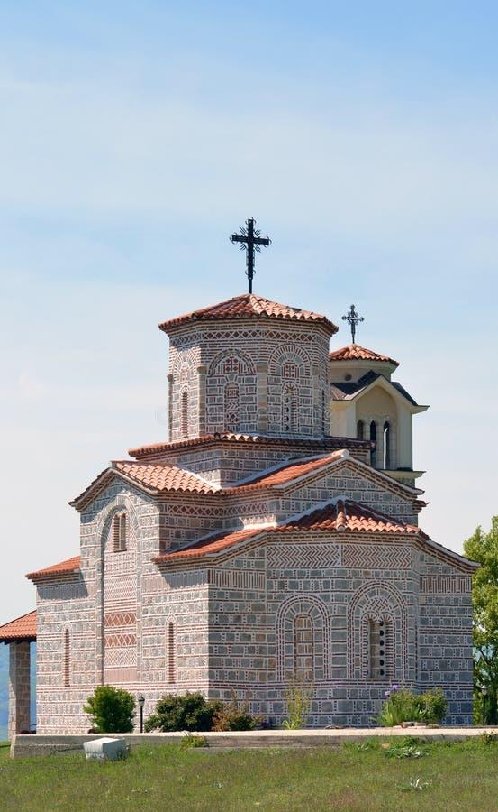Ortodox kyrka, i Prespa, Makedonien royaltyfri fotografi