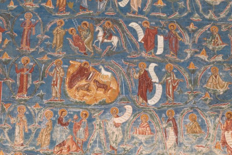 Ortodox målad kyrklig vägg fotografering för bildbyråer