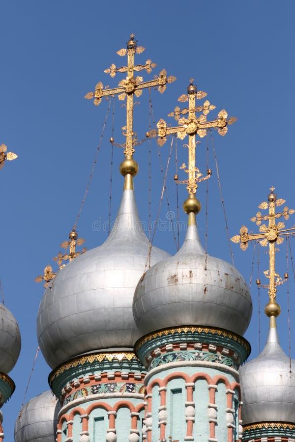 ortodox silver för kyrkliga kupoler royaltyfri foto