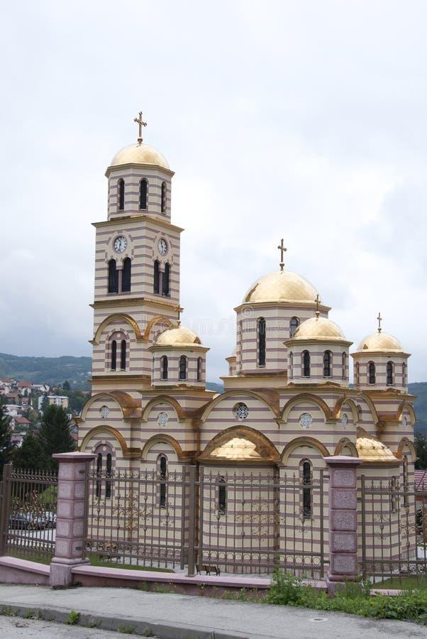 Ortodox tserk med förgyllda kupoler, Bosnien och Hercegovina royaltyfria bilder