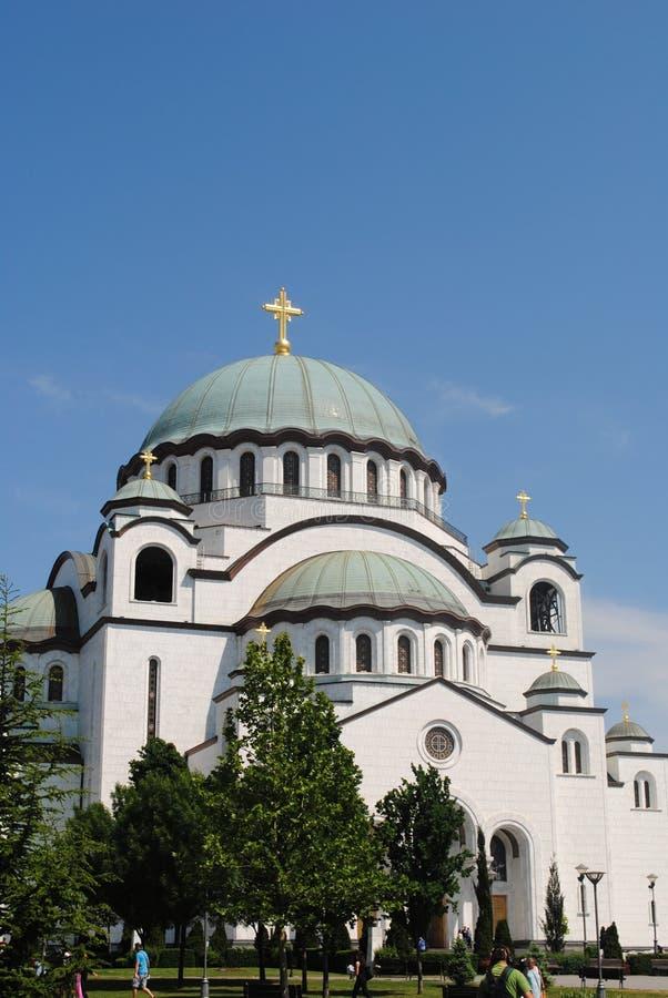 Ortodoxa kyrkor i Belgrade Serbien fotografering för bildbyråer