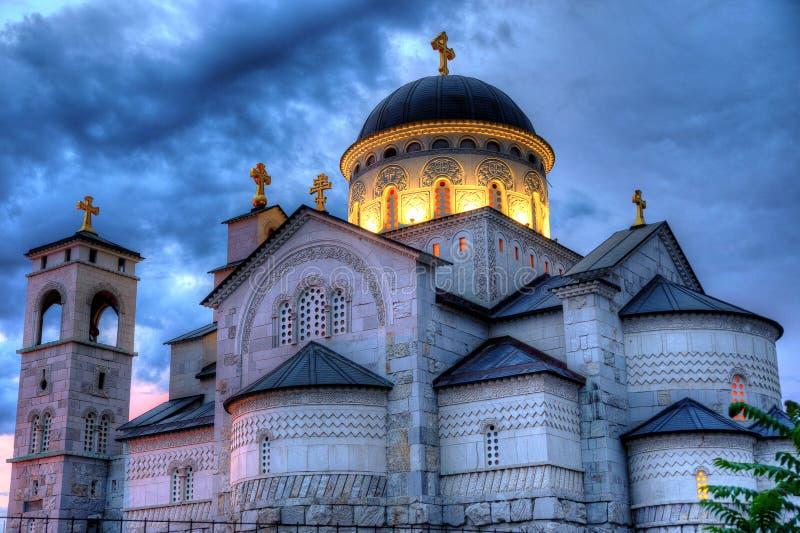 Ortodoxkerk van de Verrijzenis van Christus in Podgorica Monten royalty-vrije stock afbeeldingen