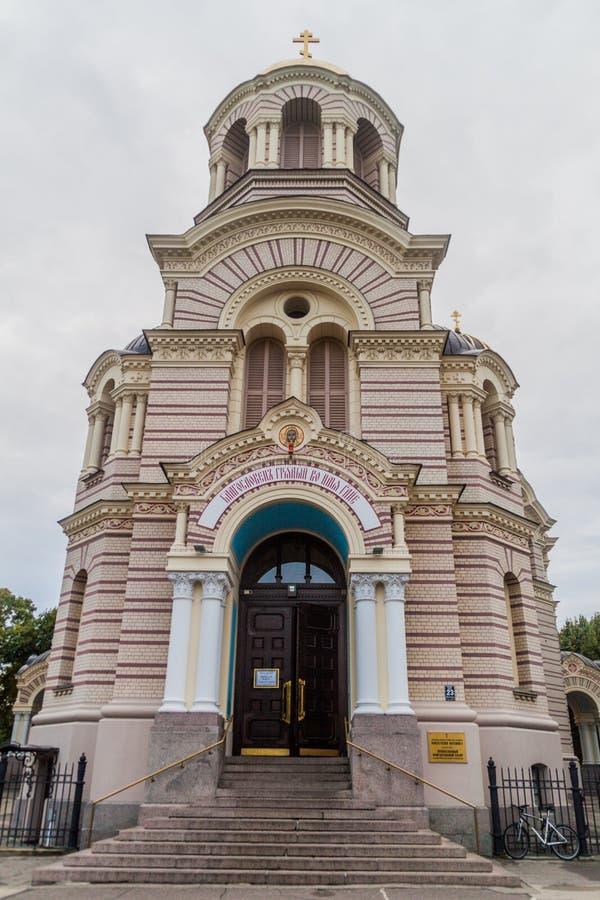 Ortodoxo a natividade da catedral de Cristo em Riga, Latv foto de stock royalty free