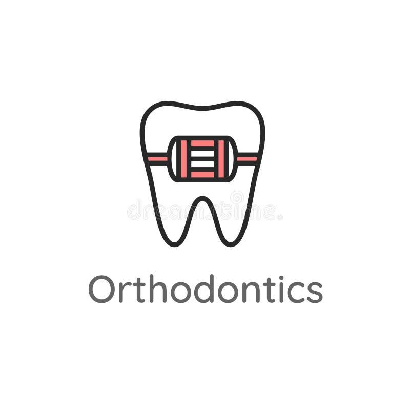 ortognatodonzia Dente con i ganci del metallo o il sistema del sostegno Icona o illustrazione dentaria royalty illustrazione gratis
