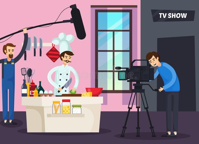 Ortogonal sammansättning för matlagningTV-program royaltyfri illustrationer