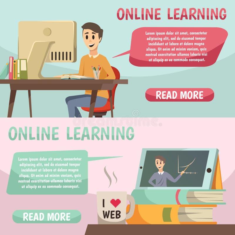 Ortogonala baner för online-utbildning royaltyfri illustrationer