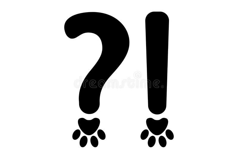 Ortografia znaki czarny znak zapytania i okrzyk ocena w zwierzęciu projektują ilustracja wektor