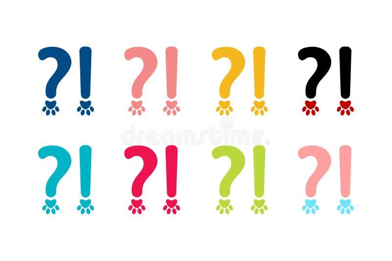 Ortografia znaki ustawiający znak zapytania i okrzyk oceny w zwierzęciu projektują royalty ilustracja