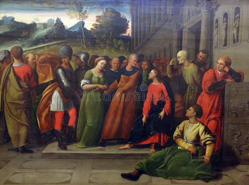 Ortolano Giovanni Battista Benvenuto;: Μοιχαλίδα ενώπιον Χριστού στοκ φωτογραφία με δικαίωμα ελεύθερης χρήσης
