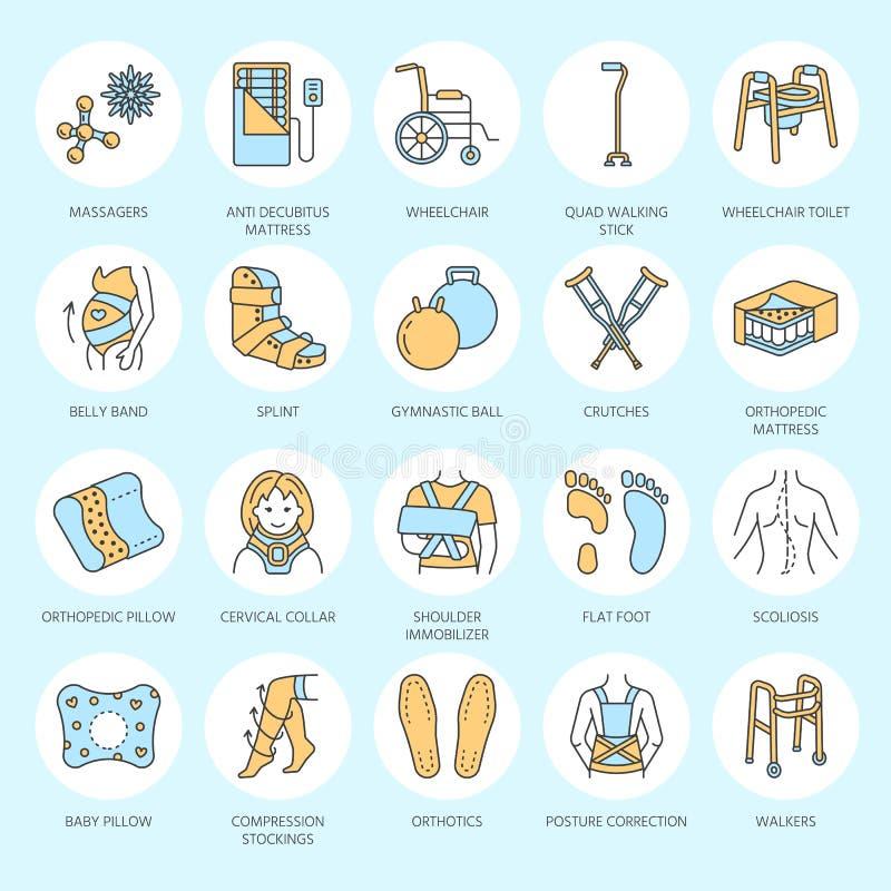 Ortopédico, linha ícones da reabilitação do traumatismo Muletas, descanso do colchão da ortopedia, colar cervical, caminhantes e  ilustração royalty free