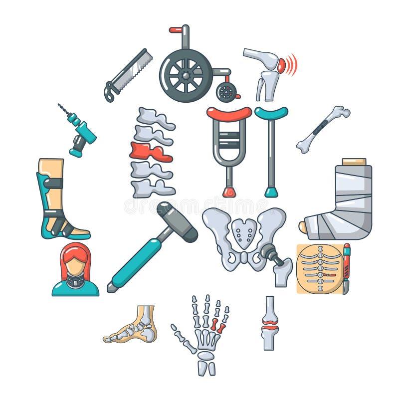 Ortopeden som benet bearbetar symboler, ställde in, tecknad filmstil royaltyfri illustrationer