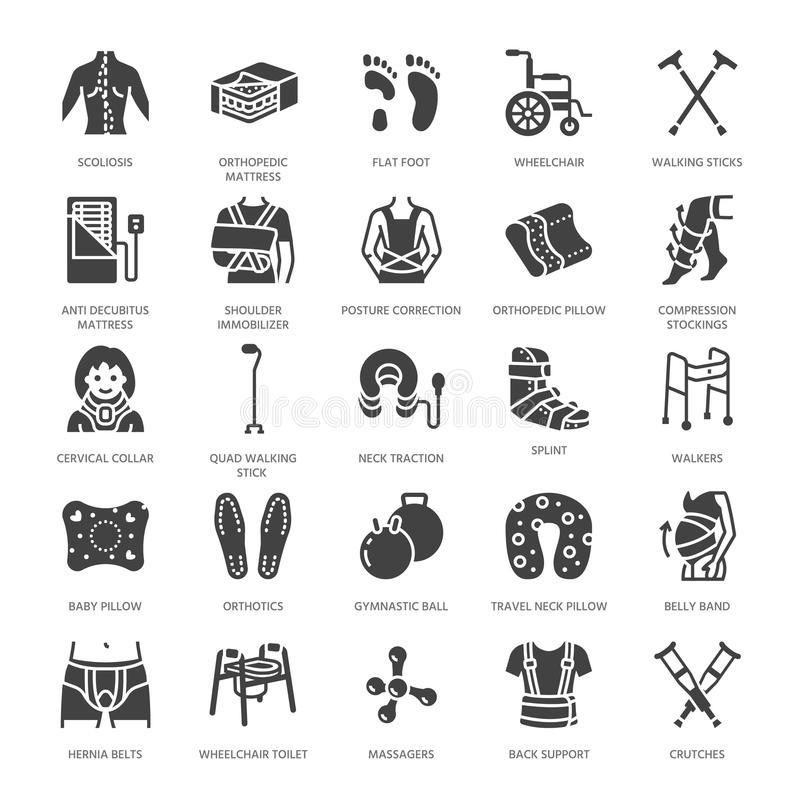 Ortopedia, ícones do glyph da reabilitação do traumatismo Muletas, descanso do colchão, colar cervical, caminhantes, bens médicos ilustração royalty free
