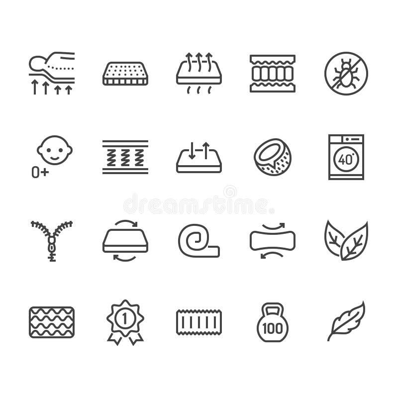 Ortopedisk madrasslägenhetlinje symboler Madrassrekvisita - anti-dammkvalster, inbindningsservice, tvättbar räkning som är breath stock illustrationer