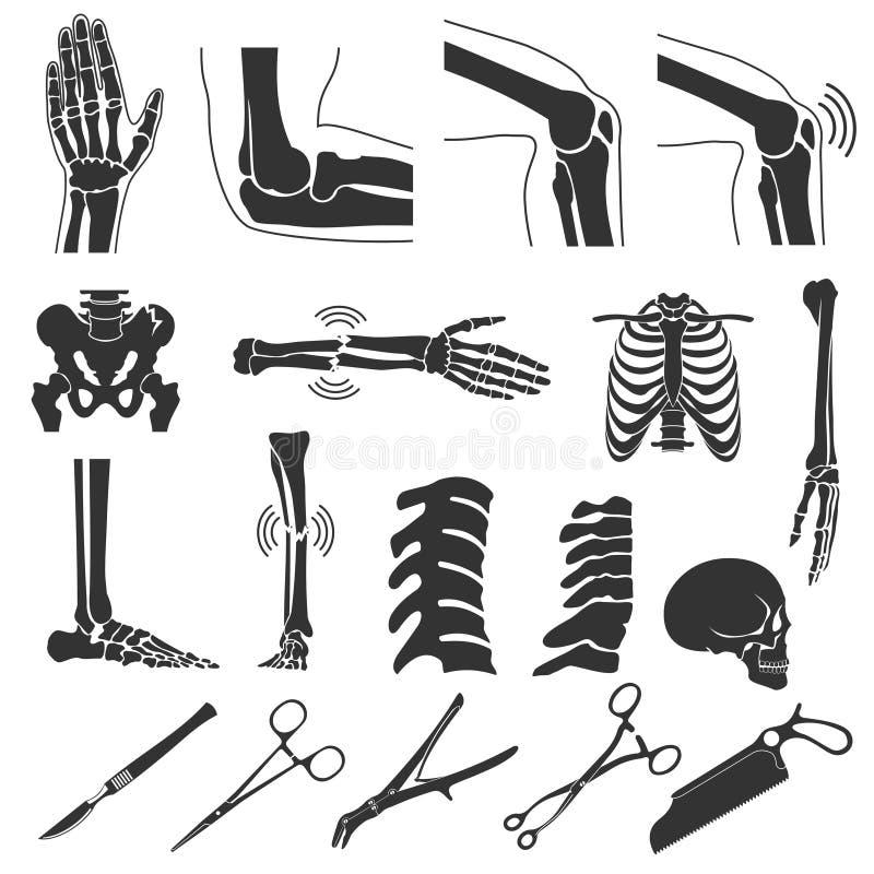 Ortopedyczni i kręgosłup wektorowi czarni symbole ludzkie kości ikony royalty ilustracja