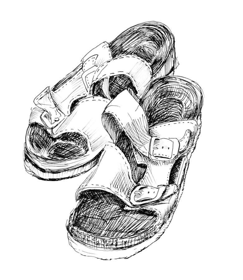 Ortopedyczni kapcie rysujący atrament obrazy royalty free